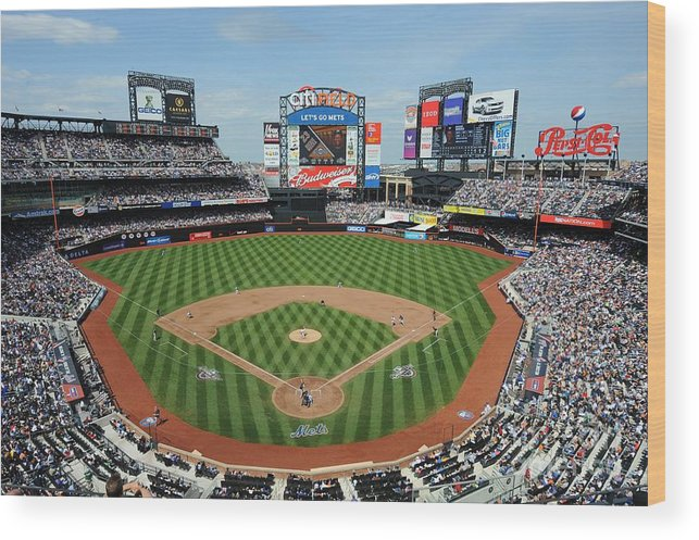 Citi Field Wood Print featuring the photograph Milwaukee Brewers V New York Mets by Rich Pilling