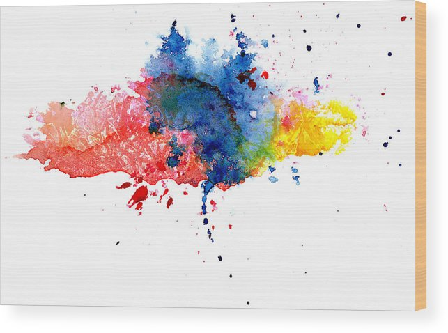 Watercolor Painting Wood Print featuring the photograph Multicolored Splashes by Alenchi