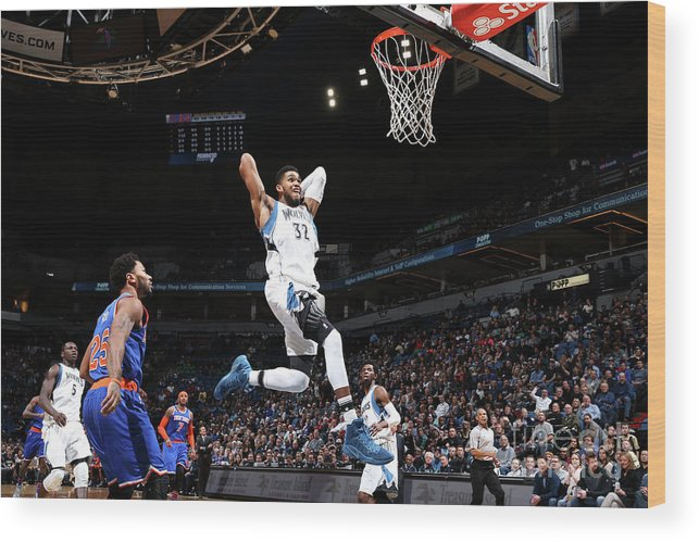Nba Pro Basketball Wood Print featuring the photograph New York Knicks V Minnesota Timberwolves by David Sherman