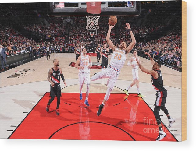 Nba Pro Basketball Wood Print featuring the photograph New York Knicks V Portland Trail Blazers by Sam Forencich