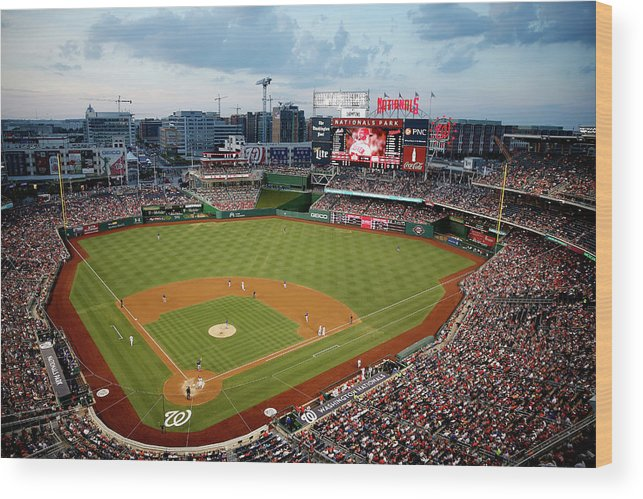 American League Baseball Wood Print featuring the photograph New York Mets V Washington Nationals by Rob Carr