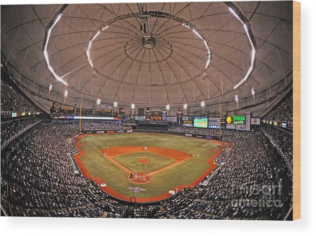 American League Baseball Wood Print featuring the photograph New York Yankees V Tampa Bay Rays by Al Messerschmidt