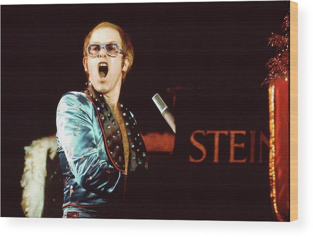Singer Wood Print featuring the photograph Photo Of Elton John by David Redfern