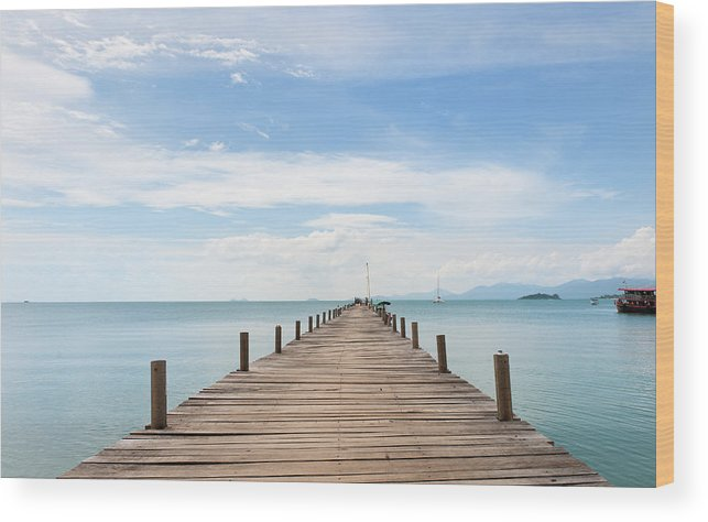 Scenics Wood Print featuring the photograph Pier On Koh Samui Island In Thailand by Pidjoe