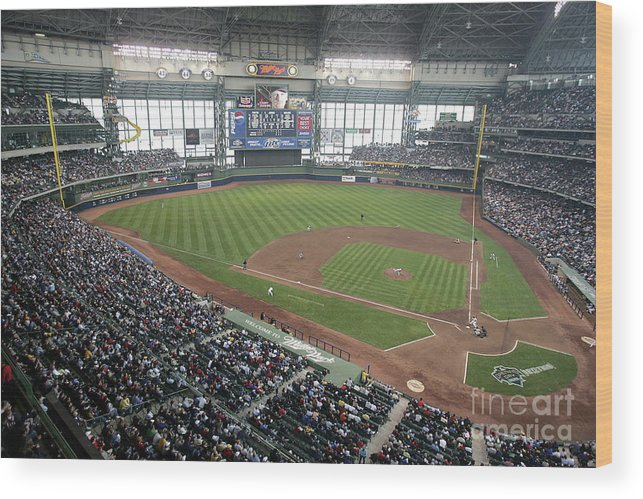 Wisconsin Wood Print featuring the photograph Pittsburg Pirates V Milwaukee Brewers by Jonathan Daniel