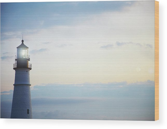 Outdoors Wood Print featuring the photograph Portland Head Lighthouse At Sunrise by Thomas Northcut