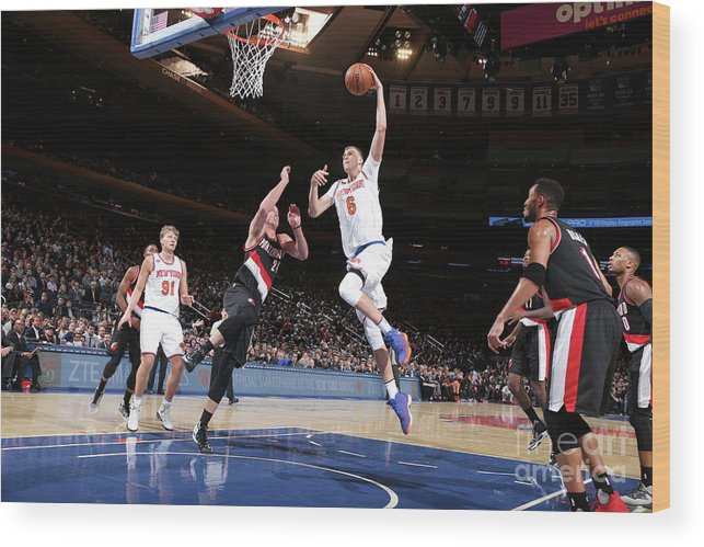 Nba Pro Basketball Wood Print featuring the photograph Portland Trail Blazers V New York Knicks by Nathaniel S. Butler