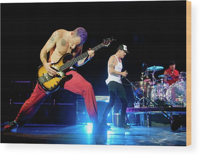 Event Wood Print featuring the photograph Red Hot Chili Peppers Perform At O2 by Neil Lupin