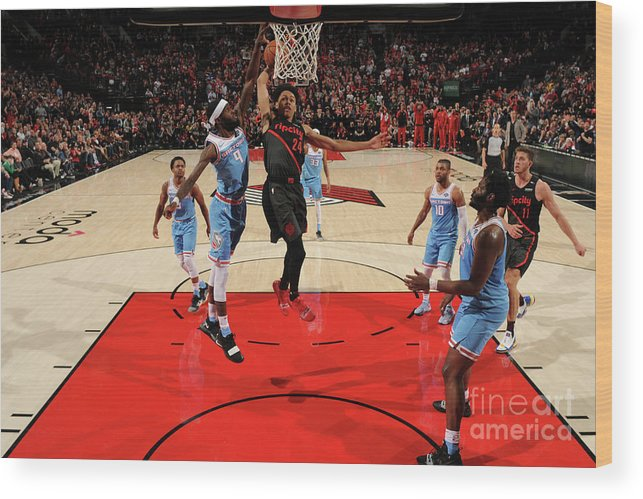 Nba Pro Basketball Wood Print featuring the photograph Sacramento Kings V Portland Trail by Cameron Browne