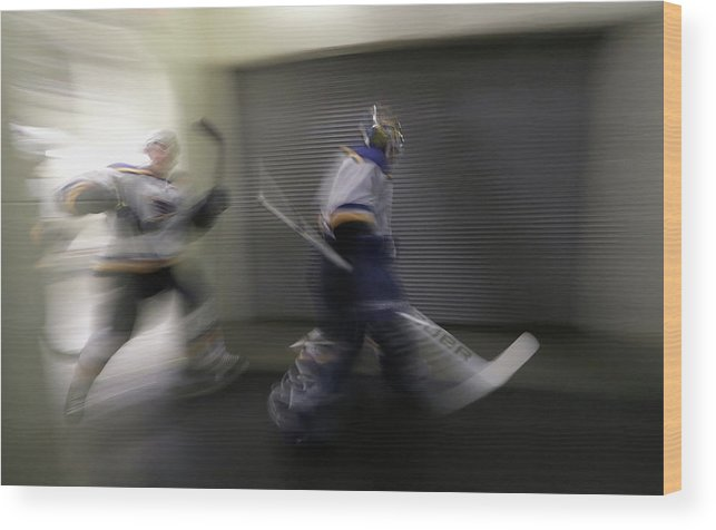 Playoffs Wood Print featuring the photograph St Louis Blues V Dallas Stars - Game by Ronald Martinez