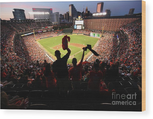 American League Baseball Wood Print featuring the photograph St. Louis Cardinals V Baltimore Orioles by Rob Carr
