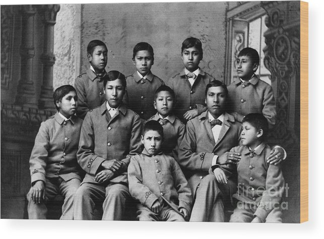 Education Wood Print featuring the photograph Students At Carlisle Indian School by Bettmann