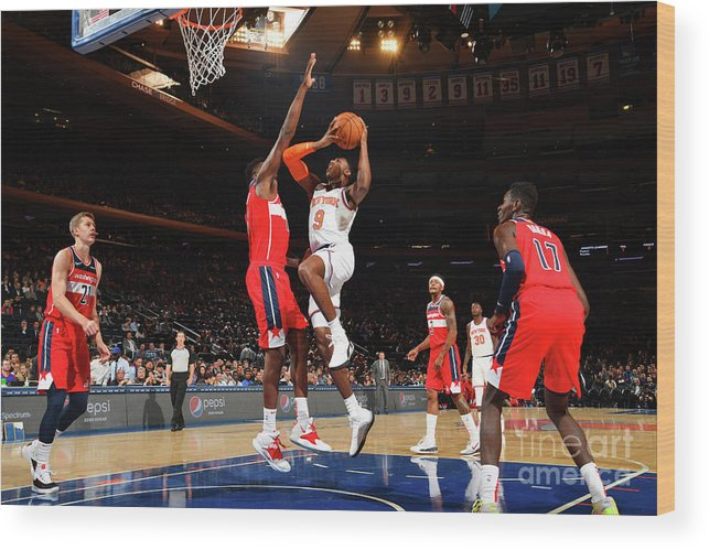 Nba Pro Basketball Wood Print featuring the photograph Washington Wizards V New York Knicks by Jesse D. Garrabrant