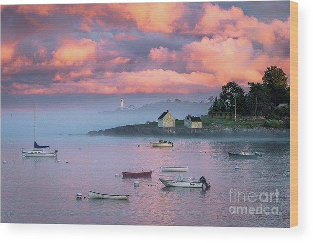 Clouds Wood Print featuring the photograph Willard Beach Sunset by Benjamin Williamson