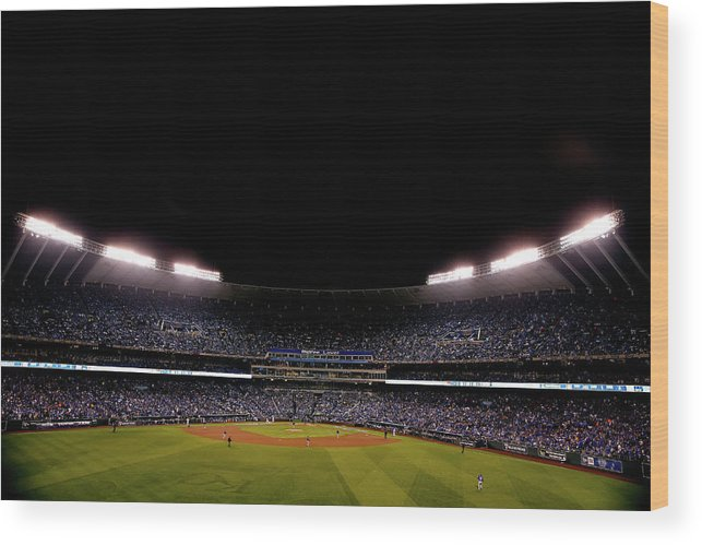 American League Baseball Wood Print featuring the photograph World Series - New York Mets V Kansas by Christian Petersen