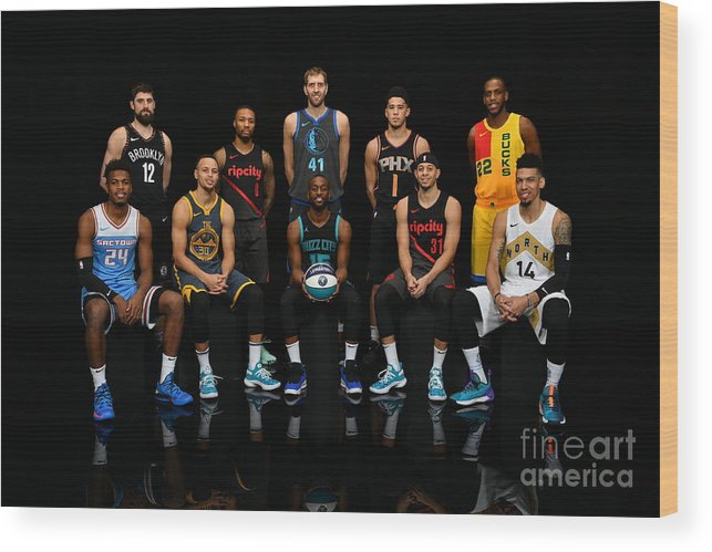 Kemba Walker Wood Print featuring the photograph 2019 Nba All Star Portraits by Jesse D. Garrabrant