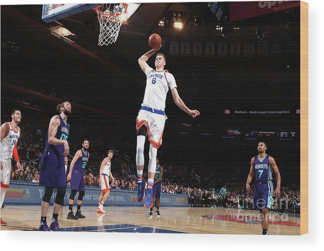 Nba Pro Basketball Wood Print featuring the photograph Charlotte Hornets V New York Knicks by Nathaniel S. Butler