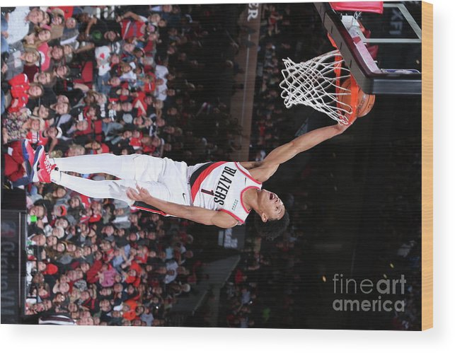 Nba Pro Basketball Wood Print featuring the photograph Denver Nuggets V Portland Trail Blazers by Sam Forencich