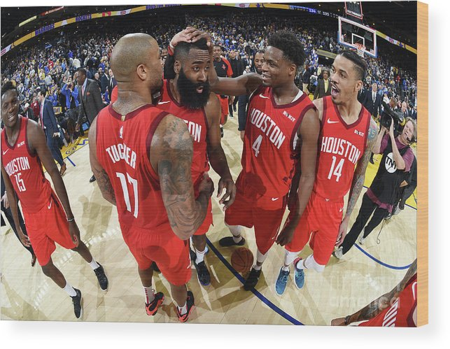 Nba Pro Basketball Wood Print featuring the photograph Houston Rockets V Golden State Warriors by Andrew D. Bernstein