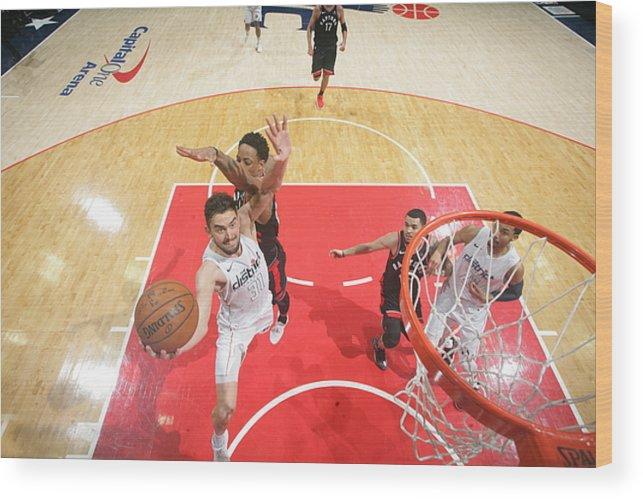 Nba Pro Basketball Wood Print featuring the photograph Toronto Raptors V Washington Wizards by Ned Dishman
