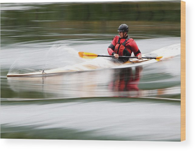 Sports Helmet Wood Print featuring the photograph Cedar Strip Kayak by Steve Glass