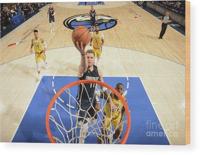 Nba Pro Basketball Wood Print featuring the photograph Los Angeles Lakers V Dallas Mavericks by Glenn James