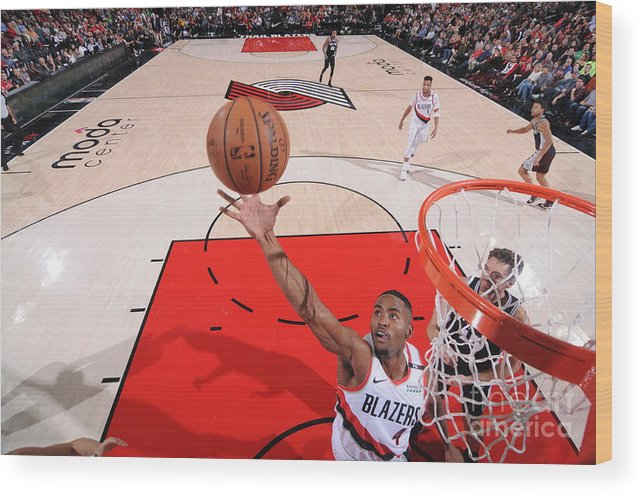 Moe Harkless Wood Print featuring the photograph San Antonio Spurs V Portland Trail by Sam Forencich