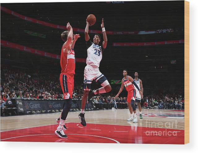 Nba Pro Basketball Wood Print featuring the photograph Minnesota Timberwolves V Washington by Ned Dishman