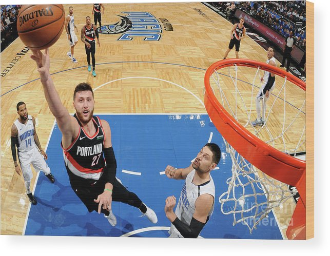Jusuf Nurkić Wood Print featuring the photograph Portland Trail Blazers V Orlando Magic by Fernando Medina