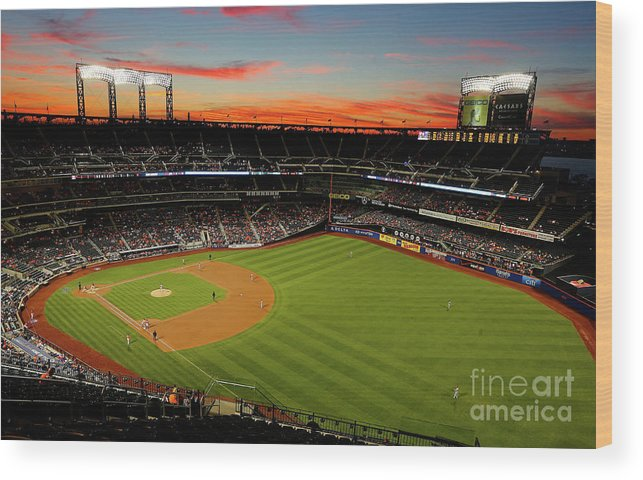 Residential District Wood Print featuring the photograph Washington Nationals V New York Mets by Jim Mcisaac