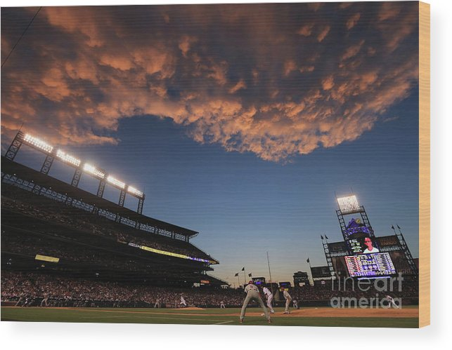 National League Baseball Wood Print featuring the photograph Philadelphia Phillies V Colorado Rockies by Doug Pensinger