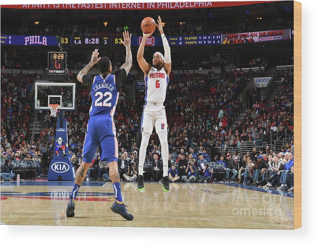 Nba Pro Basketball Wood Print featuring the photograph Detroit Pistons V Philadelphia 76ers by Jesse D. Garrabrant