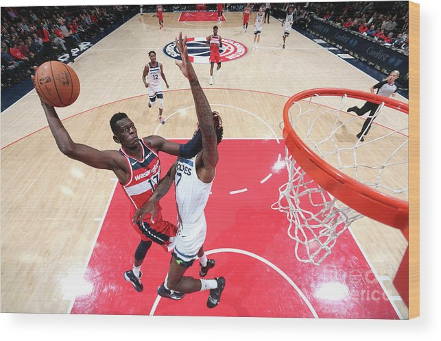 Nba Pro Basketball Wood Print featuring the photograph Minnesota Timberwolves V Washington by Ned Dishman