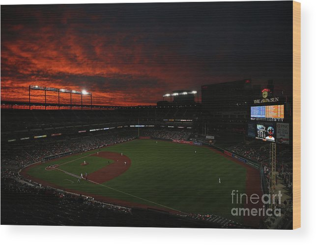 American League Baseball Wood Print featuring the photograph Toronto Blue Jays V Baltimore Orioles by Patrick Smith