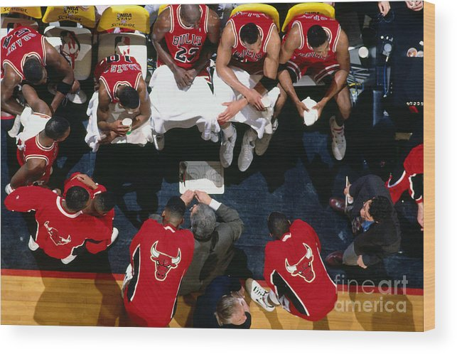 Chicago Bulls Wood Print featuring the photograph 1992 Nba Finals Portland Trailblazers by Brian Drake