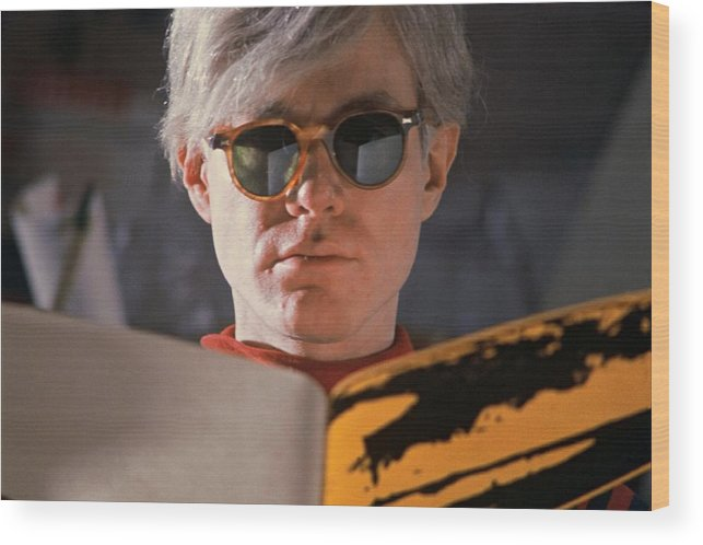 Andy Warhol Wood Print featuring the photograph Andy Warhol In New York, United States by Herve Gloaguen