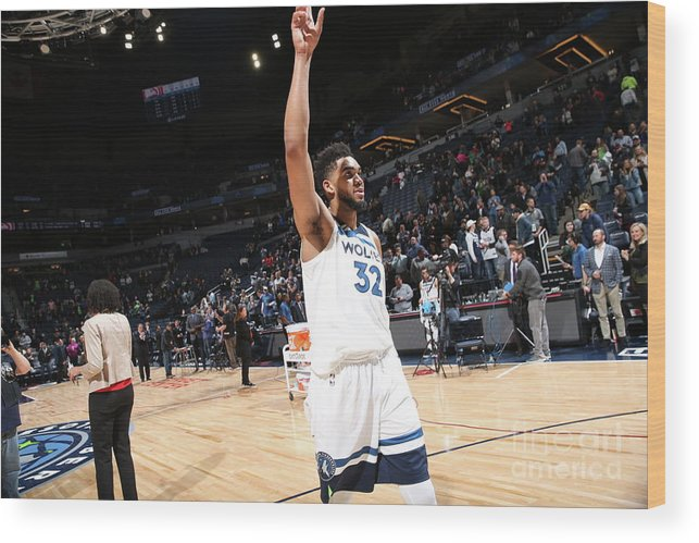 Nba Pro Basketball Wood Print featuring the photograph Atlanta Hawks V Minnesota Timberwolves by David Sherman