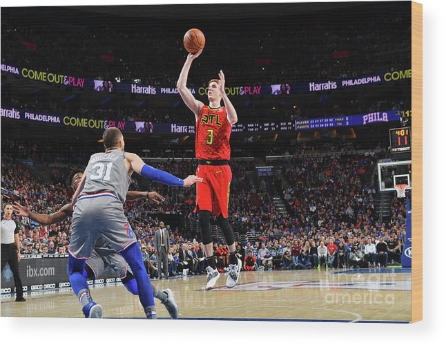 Nba Pro Basketball Wood Print featuring the photograph Atlanta Hawks V Philadelphia 76ers by Jesse D. Garrabrant