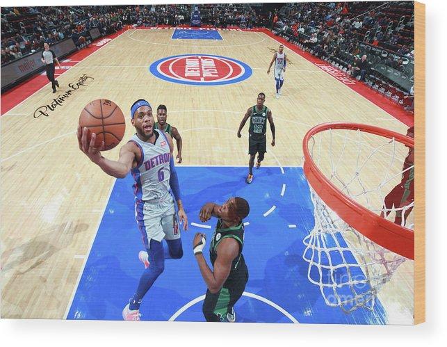 Nba Pro Basketball Wood Print featuring the photograph Boston Celtics V Detroit Pistons by Brian Sevald