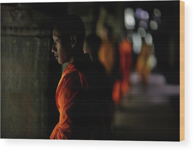 People Wood Print featuring the photograph Buddhist Monks At Angkor Wat Temple by Timothy Allen