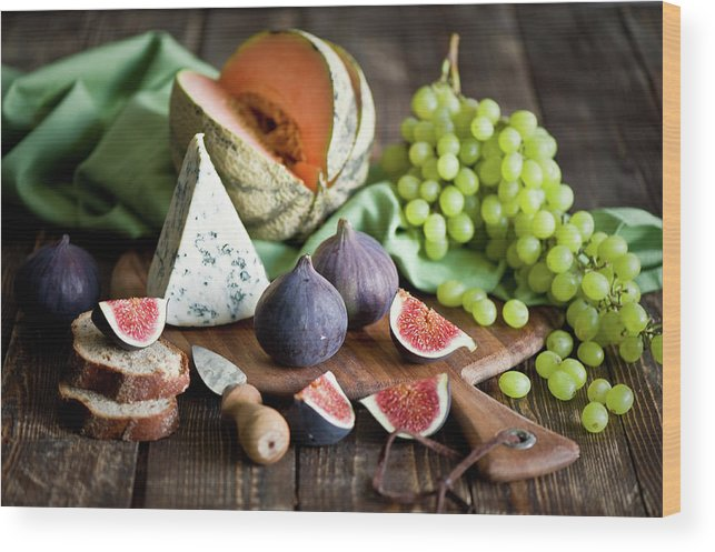 Large Group Of Objects Wood Print featuring the photograph Cheese Board by Verdina Anna