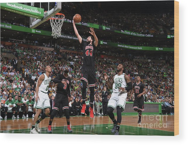 Playoffs Wood Print featuring the photograph Chicago Bulls V Boston Celtics - Game by Brian Babineau