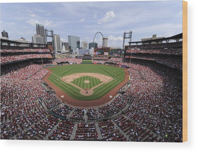 St. Louis Cardinals Wood Print featuring the photograph Cincinnati Reds V. St. Louis Cardinals by Ron Vesely