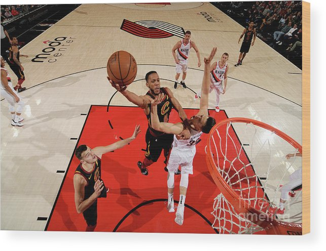 Nba Pro Basketball Wood Print featuring the photograph Cleveland Cavaliers V Portland Trail by Cameron Browne