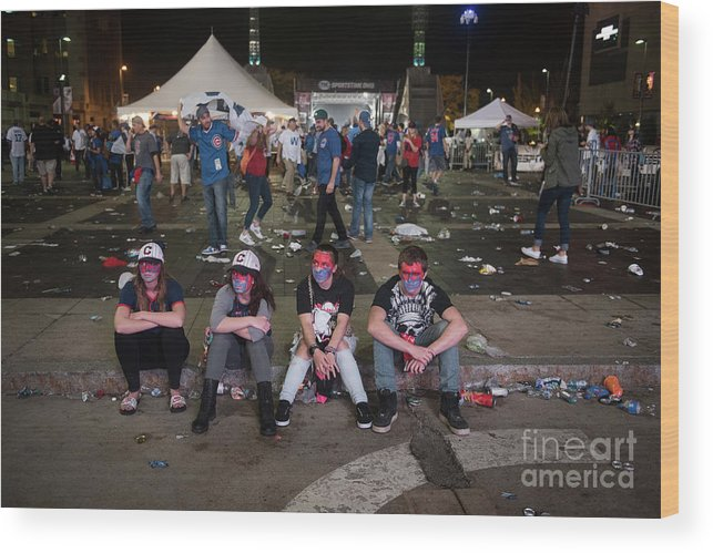 Sport Wood Print featuring the photograph Cleveland Indians Fans Gather To The by Justin Merriman