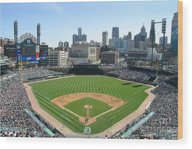 American League Baseball Wood Print featuring the photograph Cleveland Indians V Detroit Tigers by John Grieshop