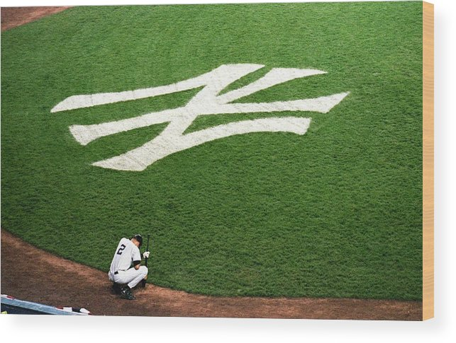 Grass Wood Print featuring the photograph Derek Jeter 2 by Jamie Squire