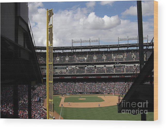 American League Baseball Wood Print featuring the photograph Detroit Tigers V Texas Rangers by Ronald Martinez