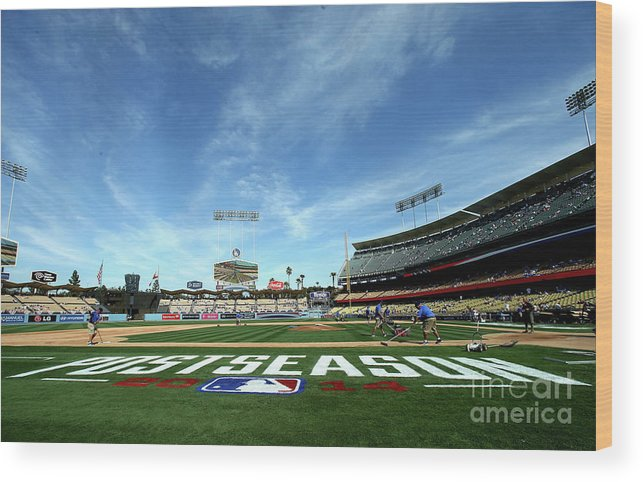 American League Baseball Wood Print featuring the photograph Division Series - St Louis Cardinals V by Stephen Dunn