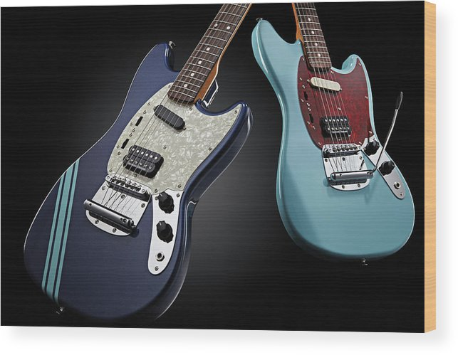 Music Wood Print featuring the photograph Fender Kurt Cobain Mustang Electric by Total Guitar Magazine
